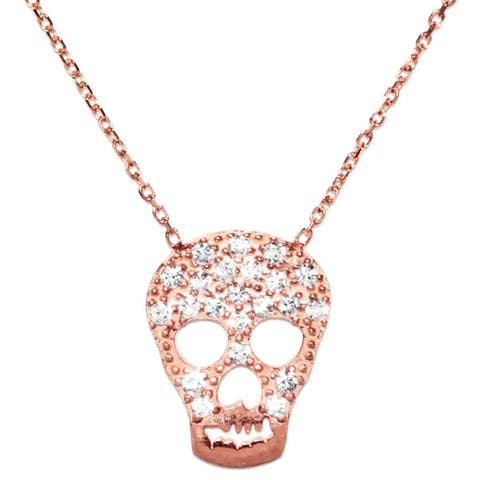Rose Gold over Sterling Silver White Cubic Zirconia Skull Necklace