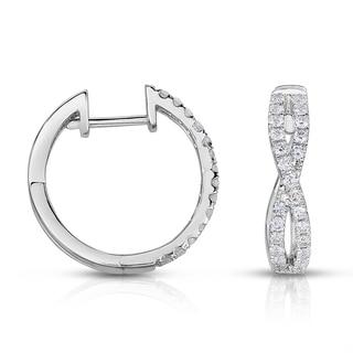 Eloquence 14k White Gold 1/2ct TDW Diamond Twist Hoop Earrings (H-I, I1-I2)