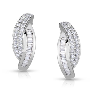 Eloquence 14k White Gold 1 1/5ct TDW Diamond Hoop Earrings (H-I, SI1-SI2)