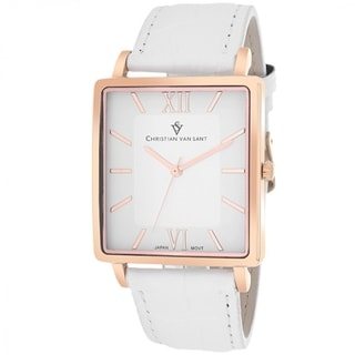 Christian Van Sant CV8513 Men's Monte Cristo Square White Strap Watch