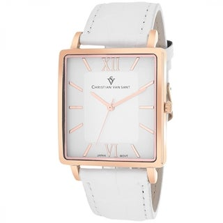 Christian Van Sant Men's Monte Cristo Square White Strap Watch