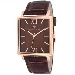 Christian Van Sant CV8515 Men's Monte Cristo Square Brown Strap Watch|https://ak1.ostkcdn.com/images/products/9629564/P16815083.jpg?impolicy=medium