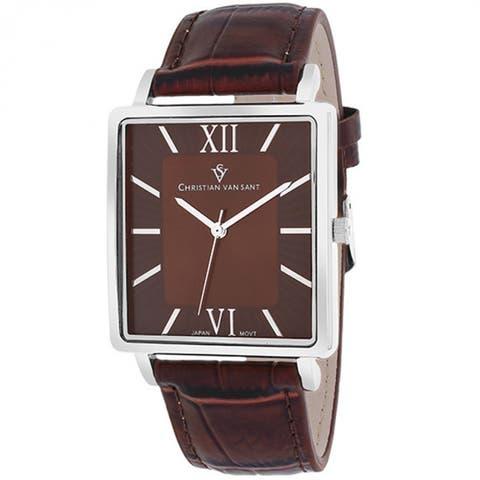 Christian Van Sant Men's Monte Cristo Square Brown Strap Watch