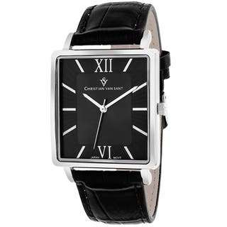 Christian Van Sant CV8510 Men's Monte Cristo Square Black Strap Watch|https://ak1.ostkcdn.com/images/products/9629567/P16815085.jpg?impolicy=medium