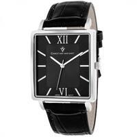 Christian Van Sant  Men's Monte Cristo Square Black Strap Watch
