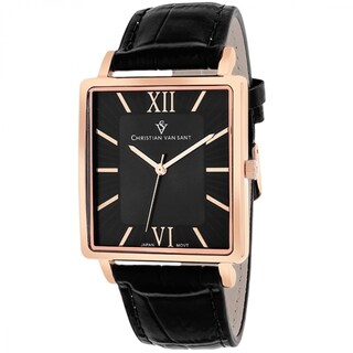 Christian Van Sant Men's Monte Cristo Square Black Strap Watch