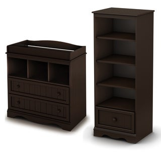 Savannah Espresso Changing Table and Shelving Unit with Drawer