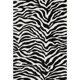 Aaron Zebra Print Microfiber Woven Rug (3'6 x 5'6)