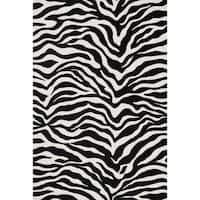 Aaron Zebra Print Microfiber Woven Rug - 3'6 x 5'6