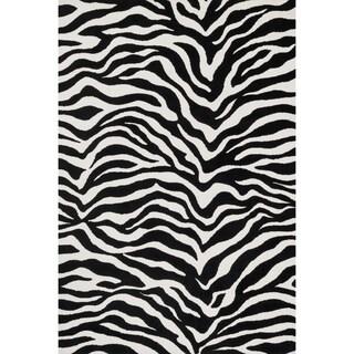 Aaron Zebra Print Microfiber Woven Rug (2'3 x 3'9)