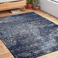 Vintage Navy/ Grey Abstract Distressed Transitional Area Rug - 9'2 x 12'7