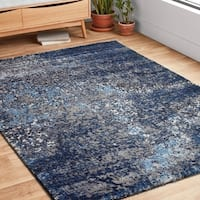 "Hastings Grey/ Navy Rug - 3'10"" x 5'7"""