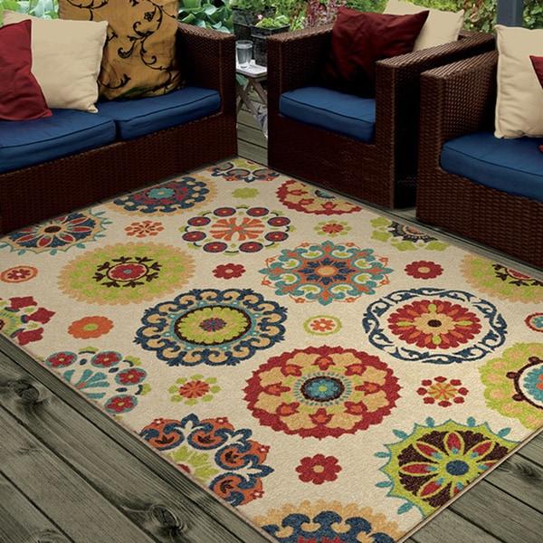 carolina weavers indoor outdoor santa barbara collection pedro multi area rug 3 39 10 x 5 39 5. Black Bedroom Furniture Sets. Home Design Ideas