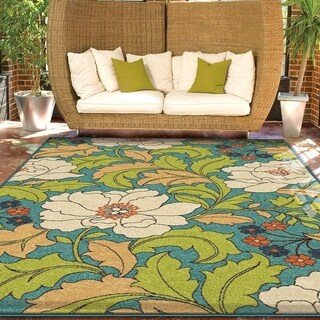Carolina Weavers Indoor/Outdoor Santa Barbara Collection Floral Race Multi Area Rug - 3'10 x 5'5