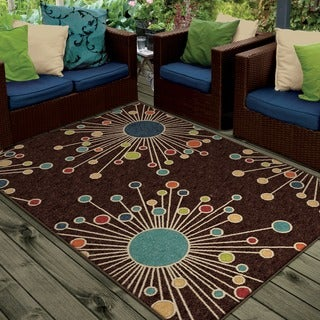 "Indoor/ Outdoor Promise Collection Revati Brown Olefin Indoor/Outdoor Area Rug (3'10"" x 5'5"")"