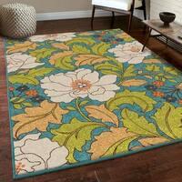 Carolina Weavers Floral Race Blue/Green Indoor/Outdoor Rug - 5'2 x 7'6