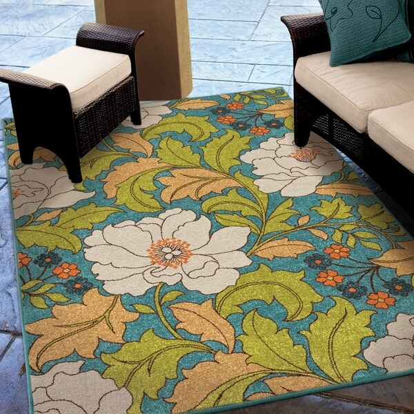 "Carolina Weavers Indoor/Outdoor Santa Barbara Collection Floral Race Multi Area Rug (7'8 x 10'10) - 7'8"" x 1'1"""
