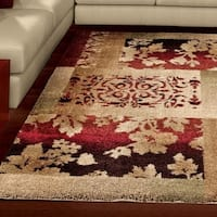Carolina Weavers Grand Comfort Collection Cultured Leaves Beige Shag Area Rug - 7'10 x 10'10