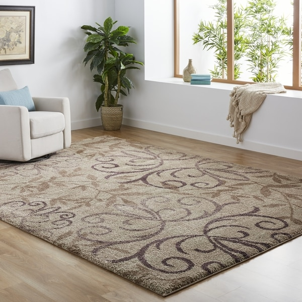 Carolina Weavers Grand Comfort Collection Toro Beige Shag Area Rug - 7'10 x 10'10