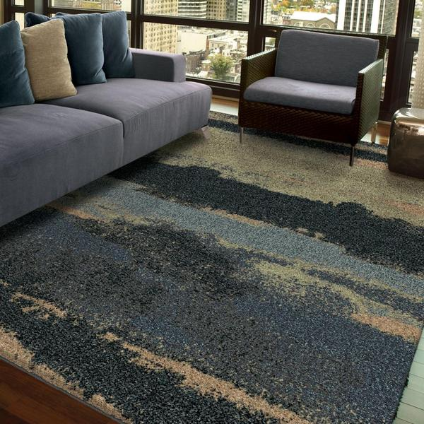 Carolina Weavers Grand Comfort Collection Curry Blue Shag Area Rug - 5'3 x 7'6