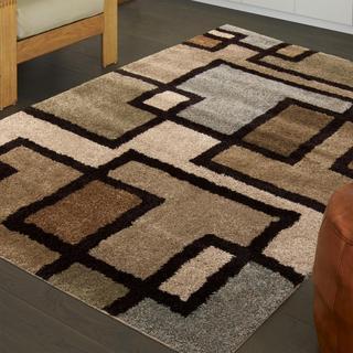 Carolina Weavers Grand Comfort Collection Passion Beige Shag Area Rug (5'3 x 7'6)