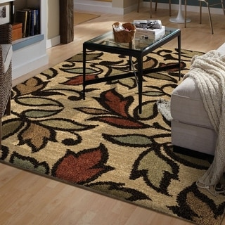 "Euphoria Collection Vine Beige Olefin Area Rug (3'11"" x 5'5"")"