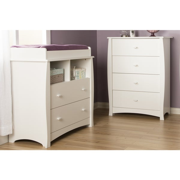 South Shore Beehive Pure White Changing Table And 4 Drawer Chest