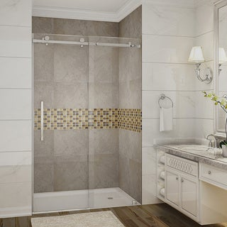 Aston Moselle 48-in x 75-in Completely Frameless Sliding Alcove Shower Door in Chrome (2 options available)
