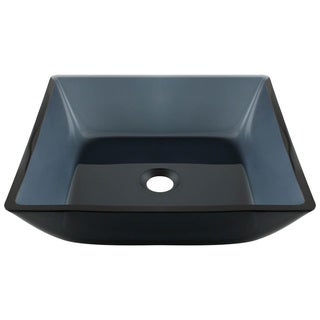 MR Direct 630 Square Black Glass Vessel Bathroom Sink