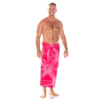 Handmade 1 World Sarongs Men's Embroidered Tie Dye Top Quality Sarong (Indonesia) (Option: Pink)