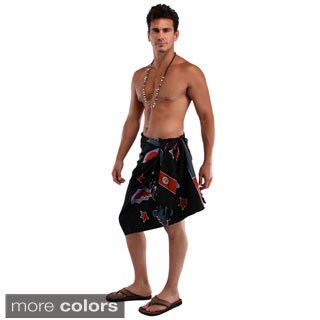 Handmade 1 World Sarongs Men's Bats Top Quality Sarong (Indonesia) (Option: Black)