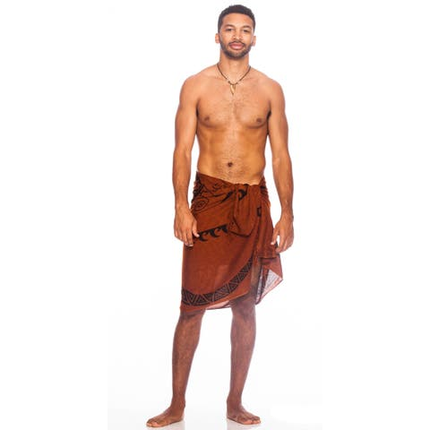 Handmade 1 World Sarongs Men's Tattoo Tribal Sarong (Indonesia)