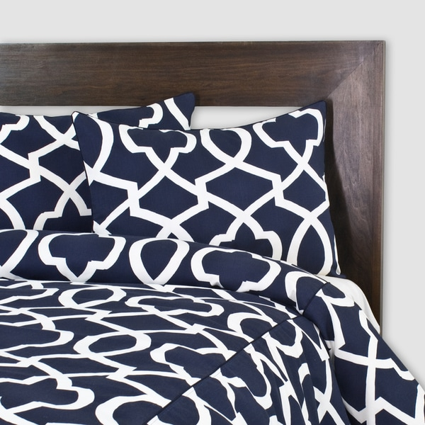 Morrow Blue Corded 3-piece Duvet Cover Set