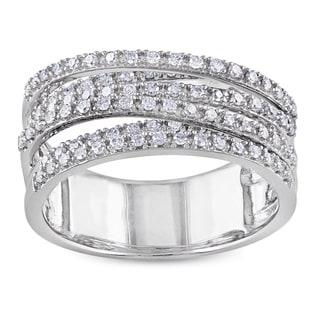 Miadora Sterling Silver 1/2ct TDW Diamond Cross-over Ring