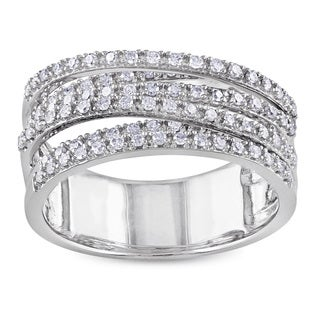 Miadora Sterling Silver 1/2ct TDW Diamond Cross-over Ring