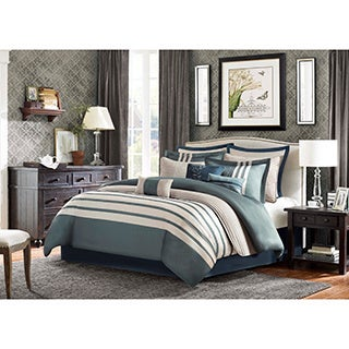 Madison Park Harlem Blue 12 Piece Jacquard Comforter Set