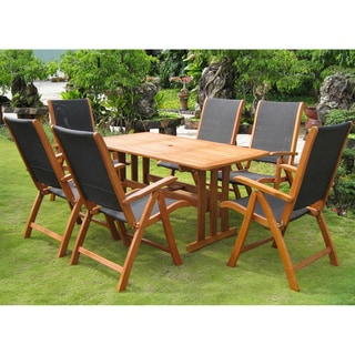 International Caravan Royal Tahiti 'Figueras' Yellow Balau Hardwood Dining Set (Set of 7)