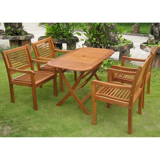International Caravan Royal Tahiti 'Sitges' Yellow Balau Hardwood Dining Set (Set of 5)