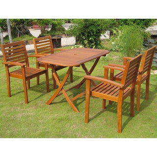 International Caravan Royal Tahiti 'Seva' Yellow Balau Hardwood Dining Set (Set of 5)