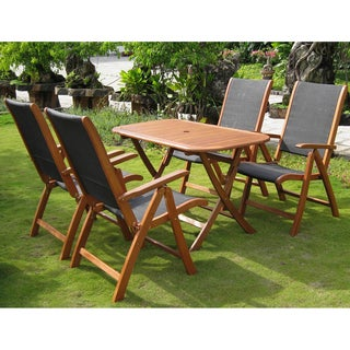 International Caravan Royal Tahiti 'Tordera' Yellow Balau Hardwood Folding Dining Set (Set of 5)