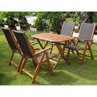 International Caravan Royal Tahiti 'Tordera' Yellow Balau Hardwood Folding Dining Set (Set of 5)