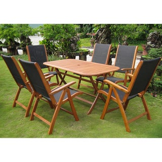 International Caravan Royal Tahiti 'Lourdes' Yellow Balau Hardwood Folding Dining Set (Set of 7)