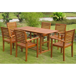 International Caravan Royal Tahiti 'Mataro' Yellow Balau Hardwood Dining Set (Set of 7)