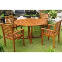 International Caravan Royal Tahiti 'Navata' Yellow Balau Hardwood Dining Set (Set of 5)