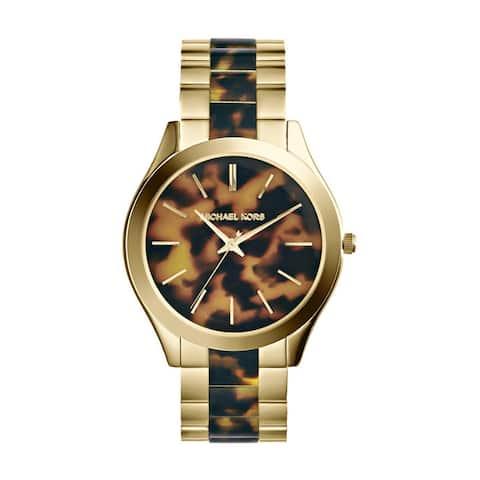 Michael Kors Women's MK4284 Slim Runway Round Two-tone Tortoise Bracelet Watch - Gold