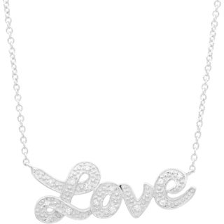 Sterling Silver Script 'Love' Adjustable Necklace