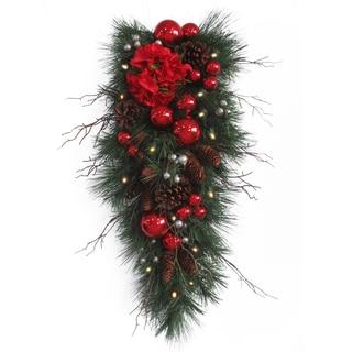 36-inch Hydrangea Teardrop Cones/ Red Ornament Decoration