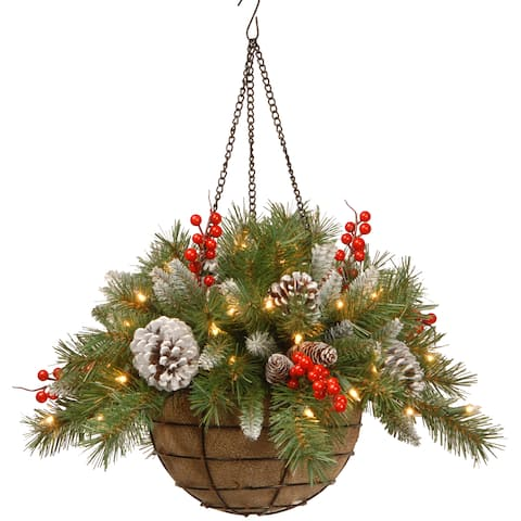 20-inch Pre-lit Frosted Pine/ Red Berries Hanging Arrangement
