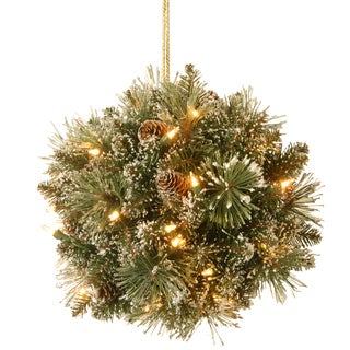 12-inch Glittery Bristle Pine Kissing Ball