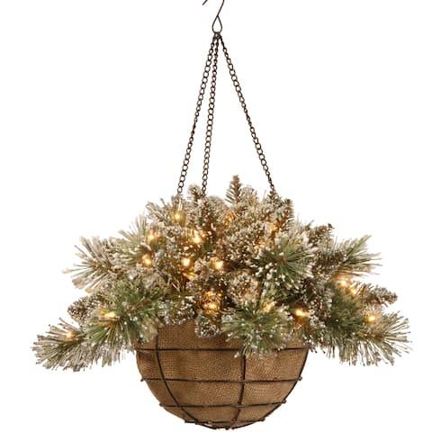 20-inch Glittery Bristle Pine Hanging Basket
